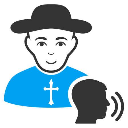 Pictograma de raster de confissão de crente. O estilo é símbolo bicolor gráfico liso, cores azuis e cinzentas, fundo branco. Foto de archivo - 94543528