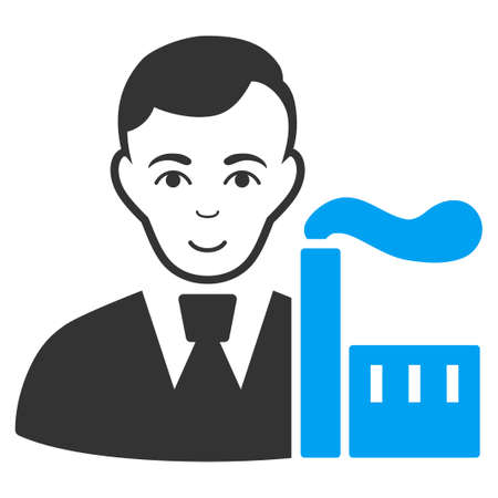 Capitalist Oligarch raster pictogram. Style is flat graphic bicolor symbol, blue and gray colors, white background.