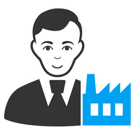 Capitalist Oligarch raster icon. Style is flat graphic bicolor symbol, blue and gray colors, white background.