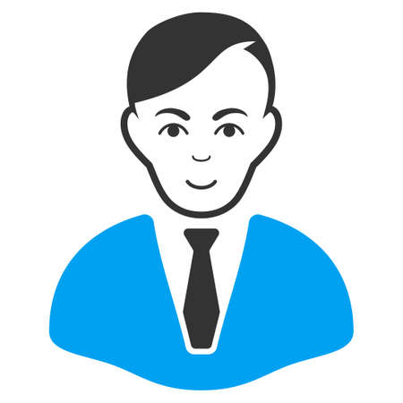 Businessman raster pictogram. Style is flat graphic bicolor symbol, blue and gray colors, white background.