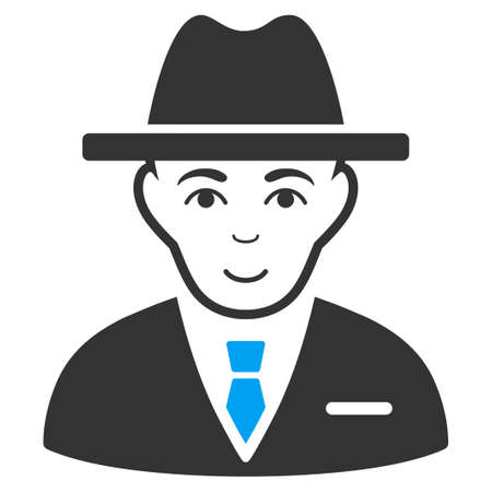 Agent raster pictogram. Style is flat graphic bicolor symbol, blue and gray colors, white background.
