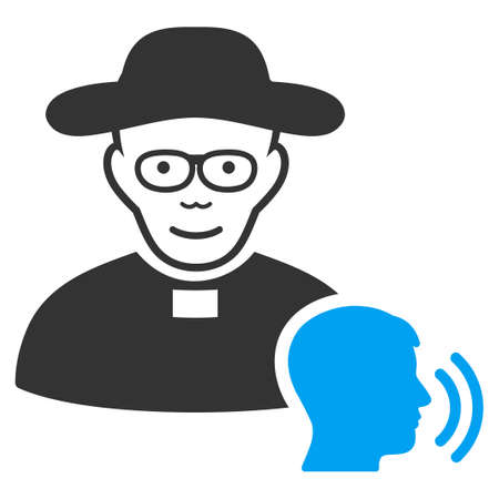 Believer Confession raster pictograph. Style is flat graphic bicolor symbol, blue and gray colors, white background.