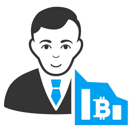 Bitcoin Trader raster pictogram. Style is flat graphic bicolor symbol, blue and gray colors, white background.