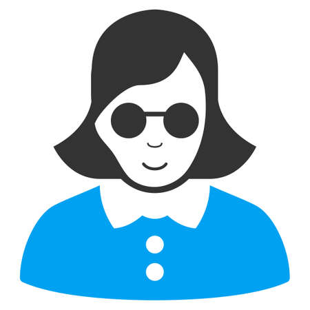 Blind Woman raster pictograph. Style is flat graphic bicolor symbol, blue and gray colors, white background.