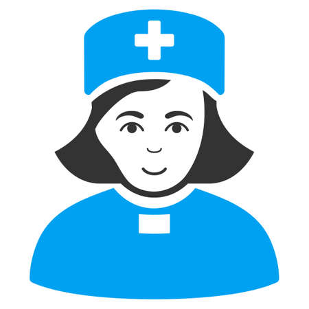 Church Female Doctor raster pictogram. Style is flat graphic bicolor symbol, blue and gray colors, white background. Stock Photo