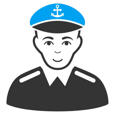 Captain raster icon. Style is flat graphic bicolor symbol, blue and gray colors, white background.