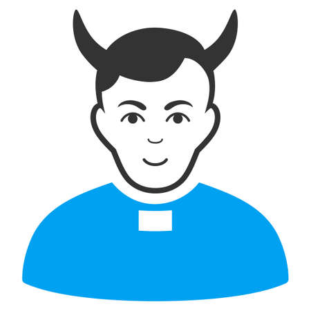 Devil Priest raster pictogram. Style is flat graphic bicolor symbol, blue and gray colors, white background. Stock Photo