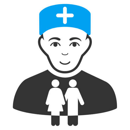 Family Doctor raster icon. Style is flat graphic bicolor symbol, blue and gray colors, white background.