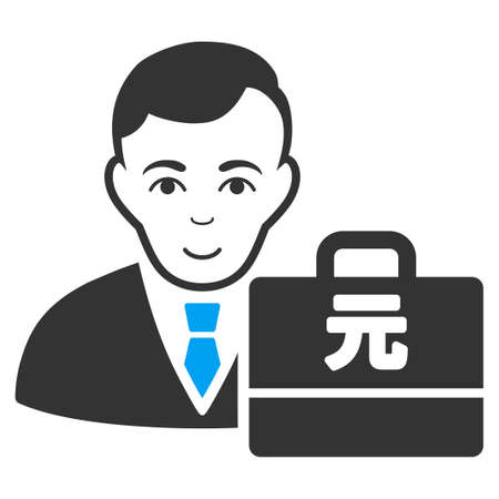 Yuan Renminbi Accounter raster icon. Style is flat graphic bicolor symbol, blue and gray colors, white background.