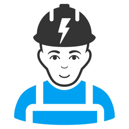 Electrician raster icon. Style is flat graphic bicolor symbol, blue and gray colors, white background.
