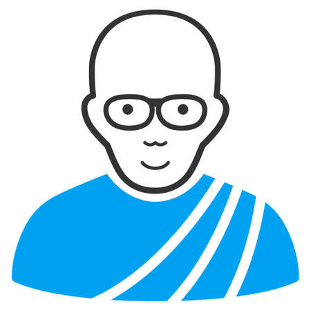 Buddhist Monk vector icon. Style is flat graphic bicolor symbol, blue and gray colors, white background.