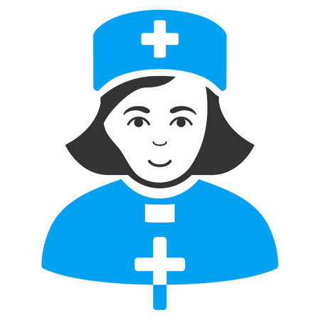 Church Female Doctor vector pictograph. Style is flat graphic bicolor symbol, blue and gray colors, white background.