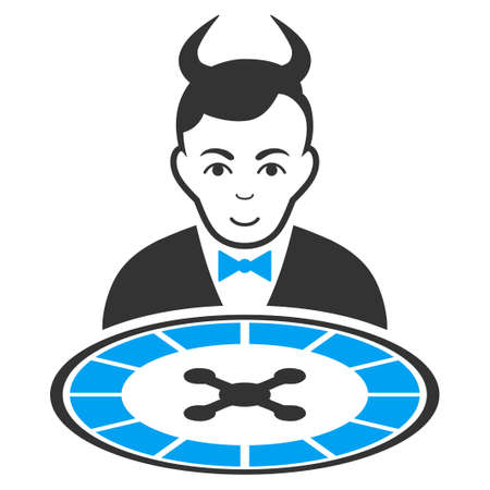 Devil Roulette Dealer vector pictograph. Style is flat graphic bicolor symbol, blue and gray colors, white background.