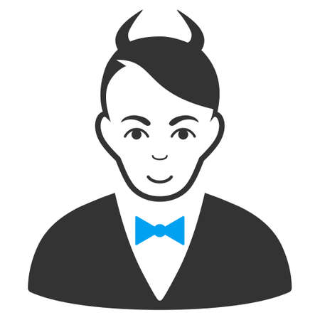 Devil vector pictogram. Style is flat graphic bicolor symbol, blue and gray colors, white background.
