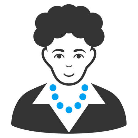 Brunette Woman vector icon. Style is flat graphic bicolor symbol, blue and gray colors, white background. Illustration
