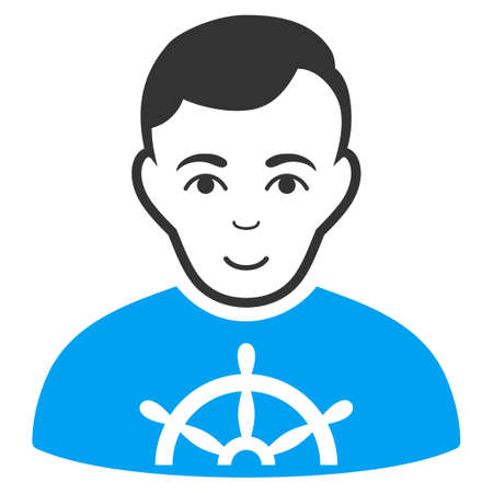 Captain vector pictogram. Style is flat graphic bicolor symbol, blue and gray colors, white background.