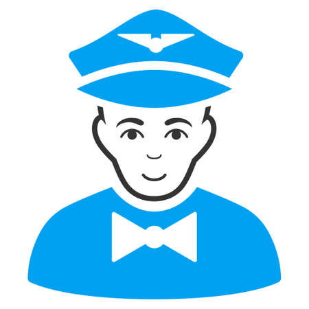 Airline Steward vector pictograph. Style is flat graphic bicolor symbol, blue and gray colors, white background. Illustration