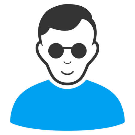 Blind Man vector pictogram. Style is flat graphic bicolor symbol, blue and gray colors, white background.
