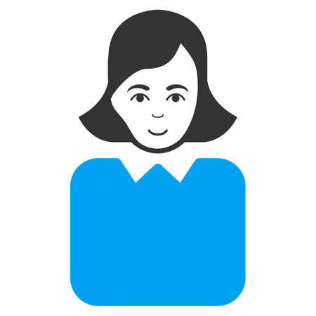 Bureaucrat Woman vector pictogram. Style is flat graphic bicolor symbol, blue and gray colors, white background.