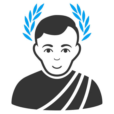 Caesar Wreath vector icon. Style is flat graphic bicolor symbol, blue and gray colors, white background.