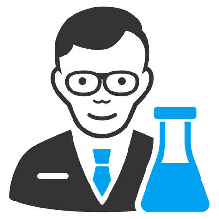 Chemist vector pictograph. Style is flat graphic bicolor symbol, blue and gray colors, white background. Illustration