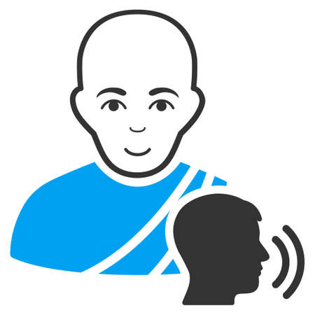 Buddhist Confession vector icon. Style is flat graphic bicolor symbol, blue and gray colors, white background. Vectores