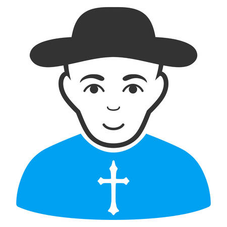 Christian Priest vector pictogram. Style is flat graphic bicolor symbol, blue and gray colors, white background.