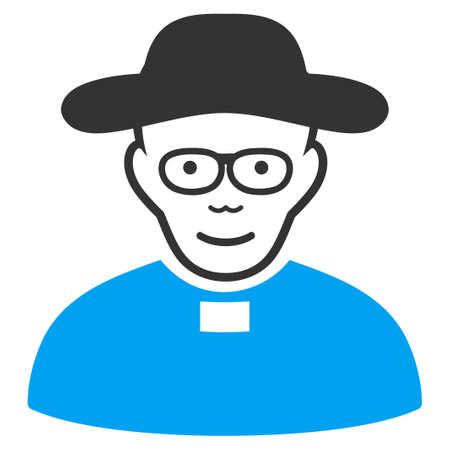 Church Shepherd vector pictogram. Style is flat graphic bicolor symbol, blue and gray colors, white background.