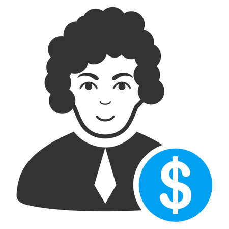 Corrupt Judge vector icon. Style is flat graphic bicolor symbol, blue and gray colors, white background. Ilustracja