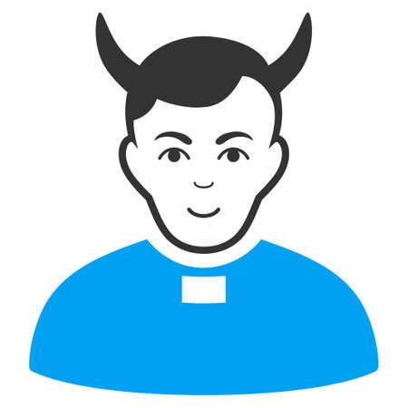 Devil Priest vector pictograph. Style is flat graphic bicolor symbol, blue and gray colors, white background. Ilustração