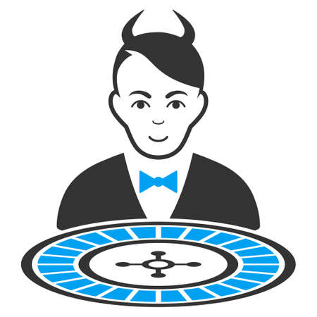 Devil Roulette Dealer vector pictogram. Style is flat graphic bicolor symbol, blue and gray colors, white background.