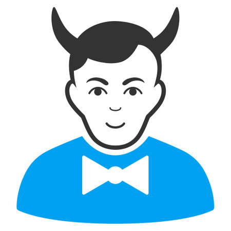 Devil vector icon. Style is flat graphic bicolor symbol, blue and gray colors, white background. Ilustração