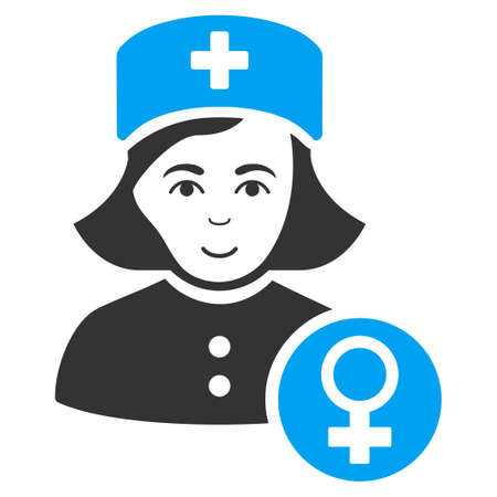 Gynecologist Lady Doctor vector pictogram. Style is flat graphic bicolor symbol, blue and gray colors, white background. Illustration