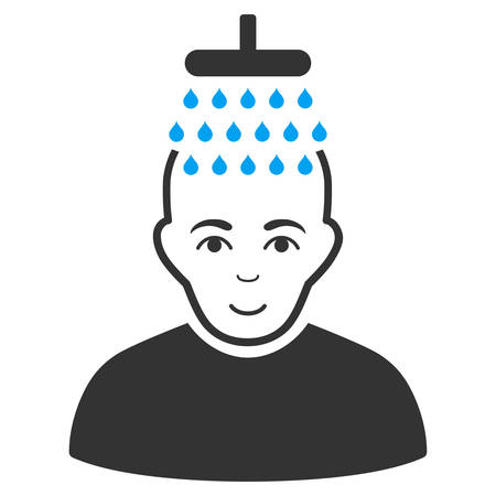 Head shower vector pictogram. Style is flat graphic bicolor symbol, blue and gray colors, white background. Illustration