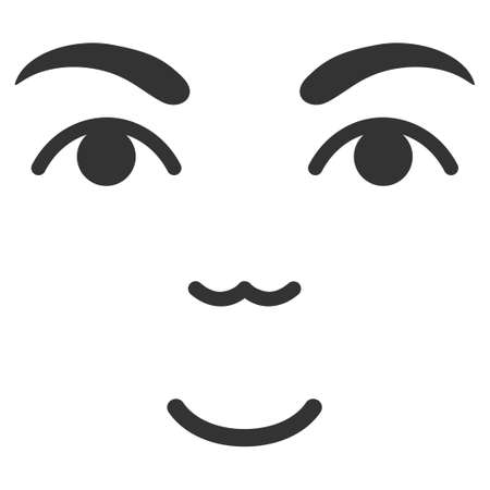 Face vector pictogram. Style is flat graphic symbol, gray color, white background.