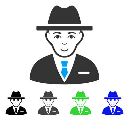 Joyful Agent vector pictograph. Vector illustration style is a flat iconic agent symbol with grey, black, blue, green color variants. Person face has happy sentiment.