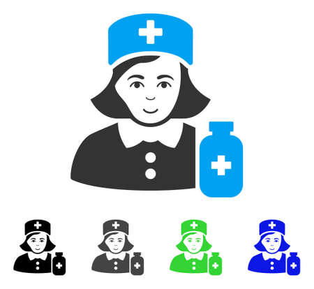 Joy Apothecary Lady vector pictogram. Vector illustration style is a flat iconic apothecary lady symbol with grey, black, blue, green color versions. Human face has gladness feeling. Illustration