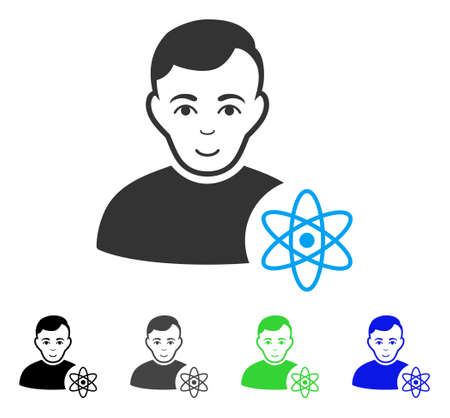 Smiling Atomic Scientist vector pictogram. Vector illustration style is a flat iconic atomic scientist symbol with grey, black, blue, green color variants. Human face has enjoy expression. Illustration