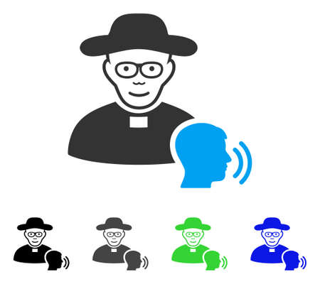 Cheerful Believer Confession vector icon. Vector illustration style is a flat iconic believer confession symbol with gray, black, blue, green color variants. Person face has joy emotion. Illustration