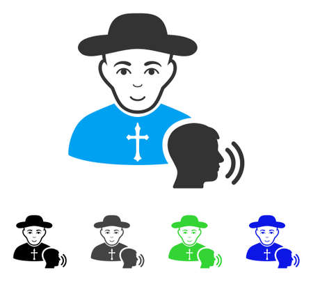 Joy Believer Confession vector pictogram. Vector illustration style is a flat iconic believer confession symbol with grey, black, blue, green color versions. Person face has joy expression. Illustration