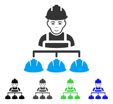 Gladness Builder Management vector pictogram. Vector illustration style is a flat iconic builder management symbol with grey, black, blue, green color versions. Human face has joy sentiment. Illustration