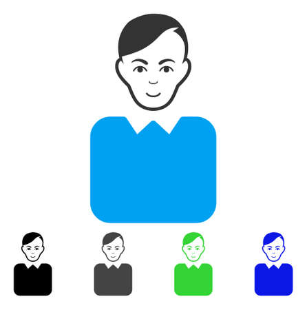 Happiness Bureaucrat vector icon. Vector illustration style is a flat iconic bureaucrat symbol with gray, black, blue, green color variants. Person face has positive feeling. Illustration