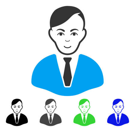 Enjoy Businessman vector pictogram. Vector illustration style is a flat iconic businessman symbol with grey, black, blue, green color variants. Person face has joy feeling.
