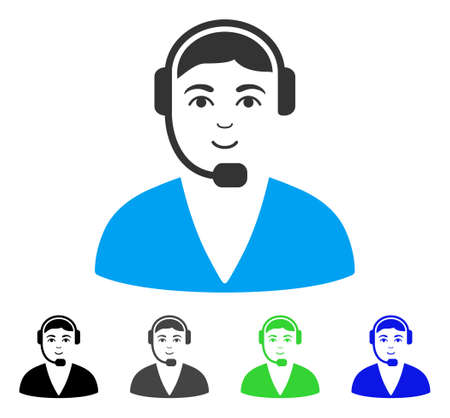 Smiling Call Center Operator vector icon. Vector illustration style is a flat iconic call center operator symbol with grey, black, blue, green color versions. Human face has glad mood.