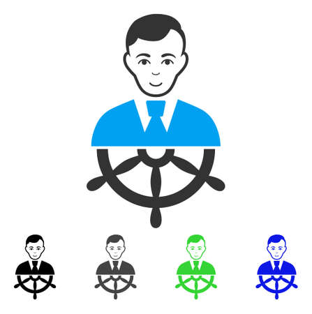 Happy Captain vector pictograph. Vector illustration style is a flat iconic captain symbol with grey, black, blue, green color versions. Human face has enjoy emotions. Illustration