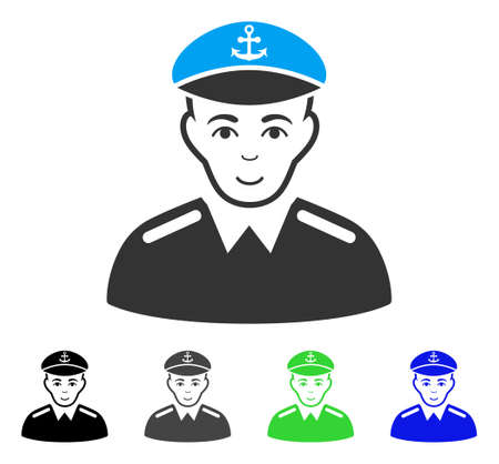 Happy Captain vector icon. Vector illustration style is a flat iconic captain symbol with gray, black, blue, green color versions. Person face has glad sentiment.