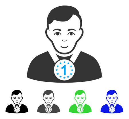 Smiling Champion vector pictograph. Vector illustration style is a flat iconic champion symbol with grey, black, blue, green color versions. Human face has enjoy emotions.