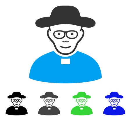 Joy Church Shepherd vector icon. Vector illustration style is a flat iconic church shepherd symbol with gray, black, blue, green color versions. Human face has cheerful emotions. Illustration