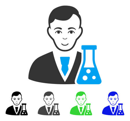 Enjoy Chemical Scientist vector pictogram. Vector illustration style is a flat iconic chemical scientist symbol with gray, black, blue, green color variants. Person face has enjoy sentiment.