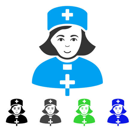 Joyful Church Female Doctor vector icon. Vector illustration style is a flat iconic church female doctor symbol with grey, black, blue, green color versions. Person face has happiness emotion.